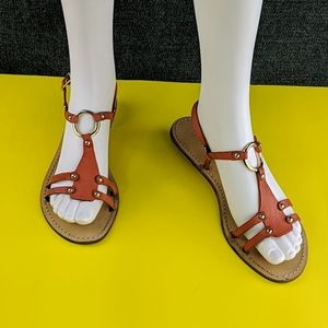 J. Crew Flat Leather Sandals In Coral & Gold